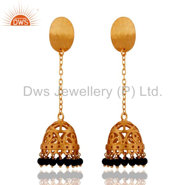Indian Designer 925 Sterling Silver Gold Plated Black onyx Long Jhumkas Earrings