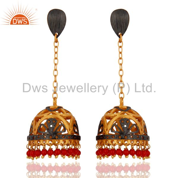 Traditional 18k Yellow Gold Plated Coral Gemstone Earrings Imitation Jewellery