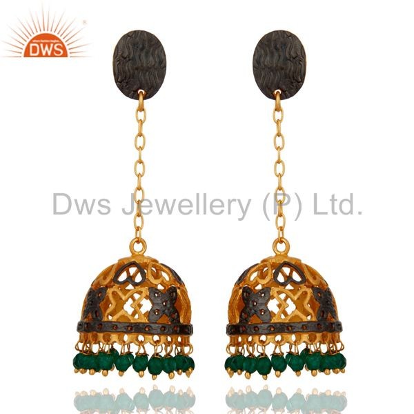 Handmade 22K Yellow Gold Plated Green Onyx Gemstone Designer Jhumka Earrings