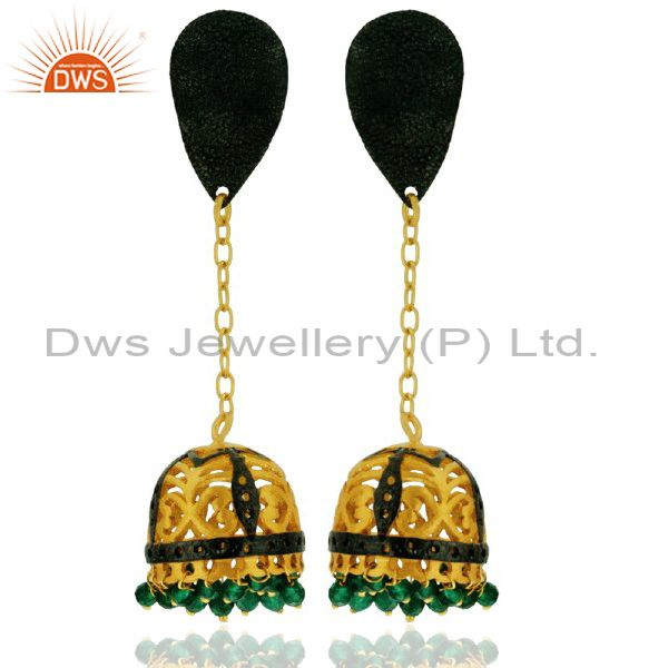 18K Yellow Gold Plated Brass Green Onyx Jhumka Fashion Earrings
