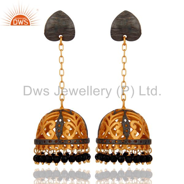 Designer Black Onyx Gemstone Jewelry Handmade 24k Gold Plated Jhumki Earrings