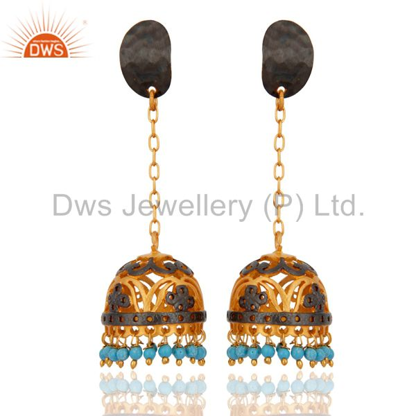 Genuine Turquoise Gemstone 18k Yellow Gold Plated South Indian Jhumka Earrings