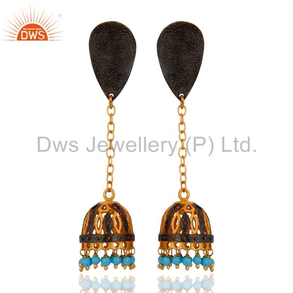 18K Yellow Gold Plated Turquoise Gemstone Cheap Fashion Designer Dangle Earring