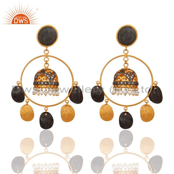18K Gold Plated Natural Pearl Designer Traditional Indian Chandelier Earrings