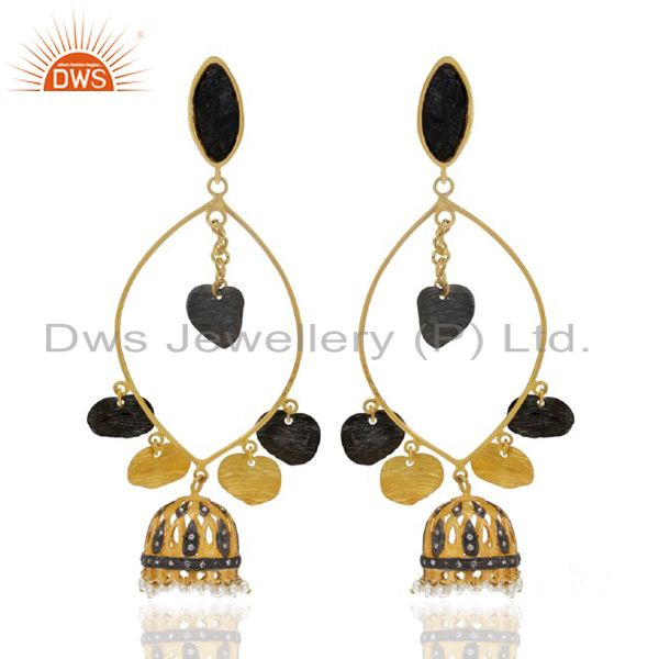 24K Yellow Gold Plated Brass Cubic Zirconia And Pearl Ethnic Design Earrings