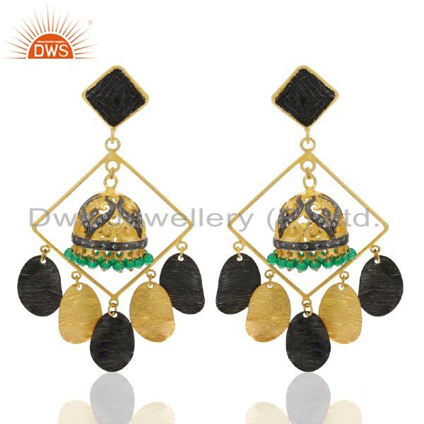 22K Yellow Gold Plated Brass Green Onyx And CZ Ethnic Jhumka Fashion Earrings