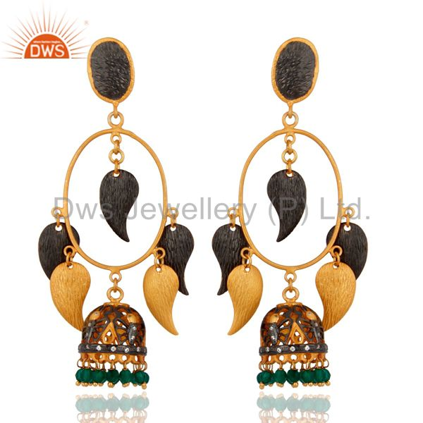 18K Yellow Gold Plated Brushed Finish Green Onyx Womens Chandelier Earrings