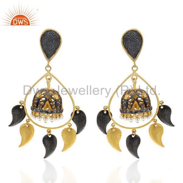 22K Yellow Gold Plated Pearl And Cubic Zirconia Womens Chandelier Earrings
