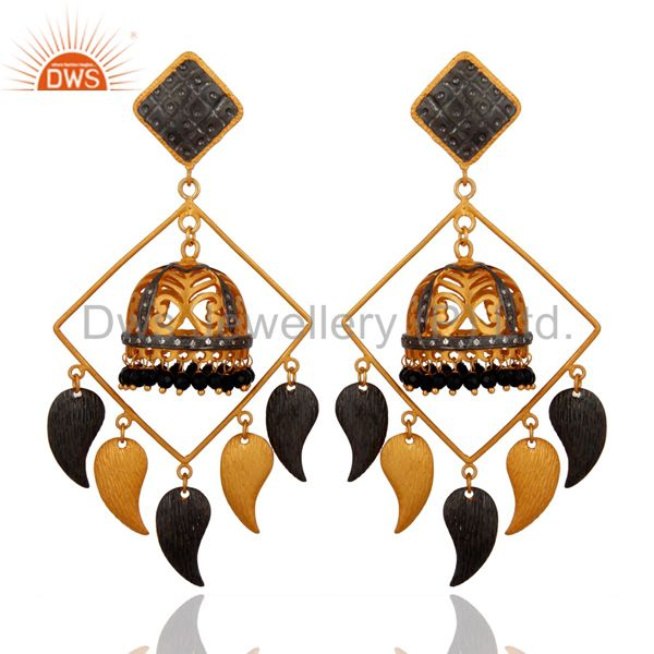 22K Yellow Gold Plated Brass Black Onyx And CZ Womens Chandelier Earrings