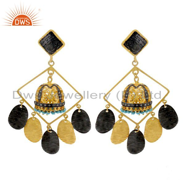 18K Yellow Gold Plated Brass Turquoise Gemstone And CZ Dangle Earrings