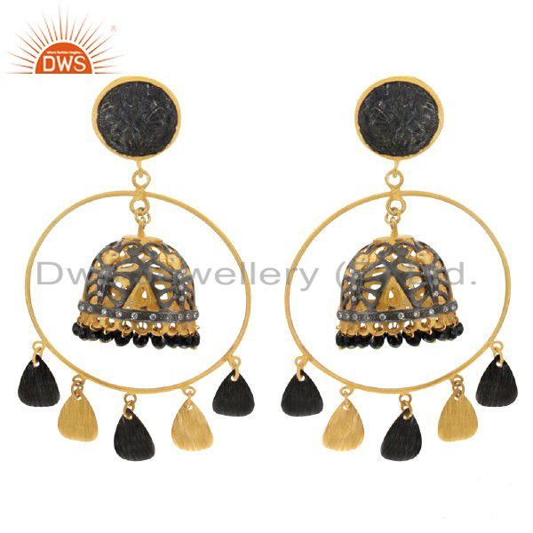 18K Yellow Gold Plated Black Onyx Gemstone Beads Jhumka Style Earrings With CZ