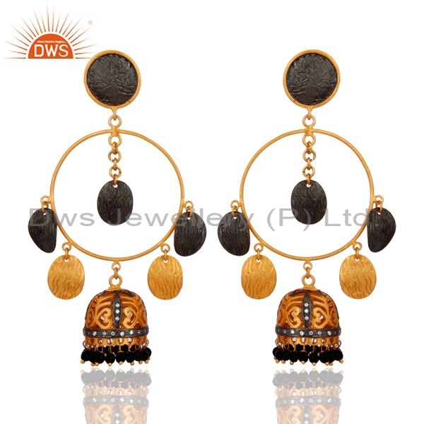 Brushed Gold Plated Black Onyx And CZ Bridal Fashion Jhumka Chandelier Earrings