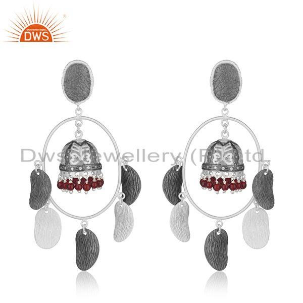 Multi Color Brass Fashion Red Onyx Gemstone Jhumka Earrings Wholesale