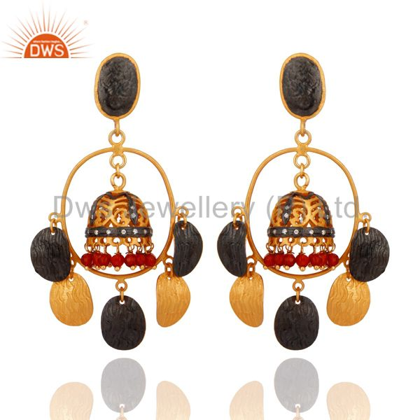 Brushed Gold Plated Red Onyx And CZ Bridal Fashion Jhumka Chandelier Earrings