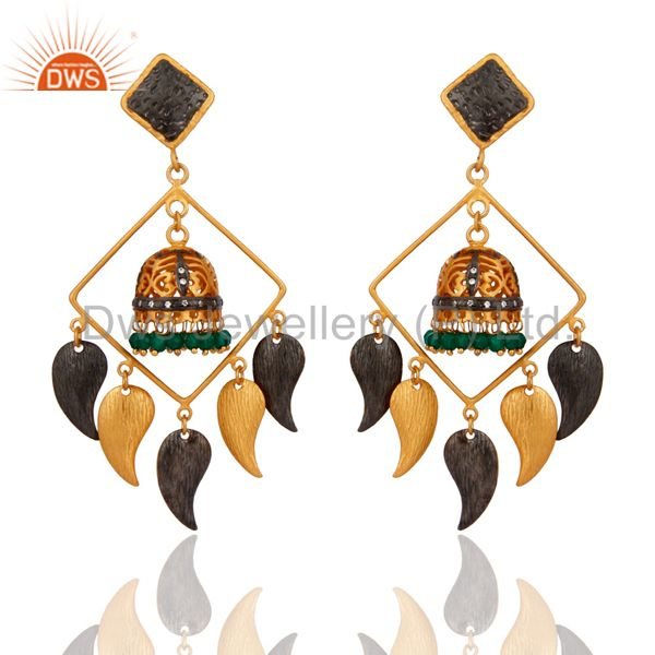 Brushed Gold Plated Green Onyx & CZ Bridal Fashion Jhumka Chandelier Earrings
