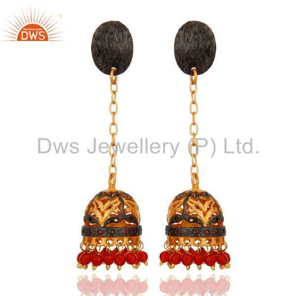 Natural Red Onyx Gemstone Beads 18K Gold Plated Party Wear Jhumki Earring