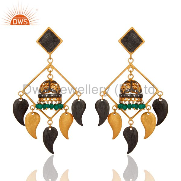 18k Gold Plated Brass Green Onyx Gemstone Earrings Belly Dance Jewelry