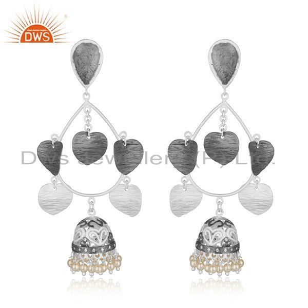 White Pearl Multi Plating Brass Fashion Jhumka Indian Earrings Wholesaler India