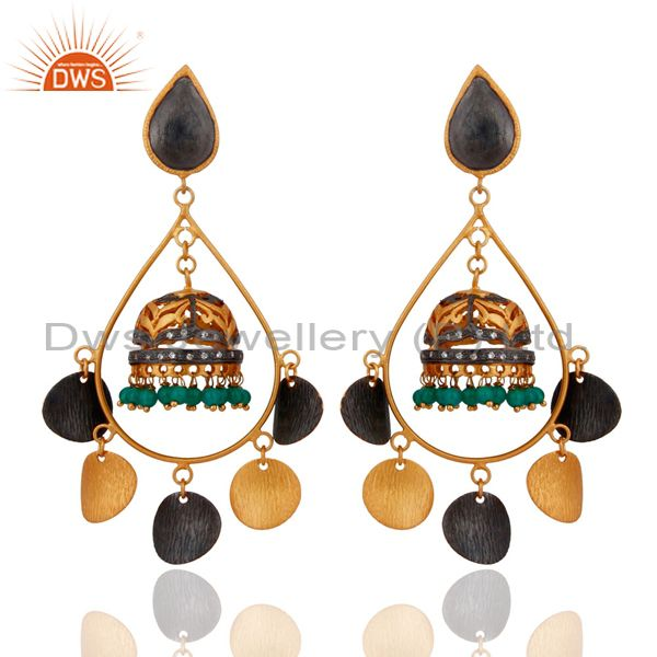 18k Yellow Gold Plated Over Brass Green Onyx Beads Wedding Chandelier Earrings