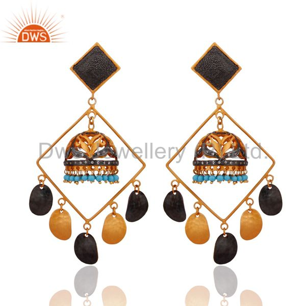 24k Gold Plated Over Brass Turquoise Bead Gemstone Tribal Fashion Dangle Earring