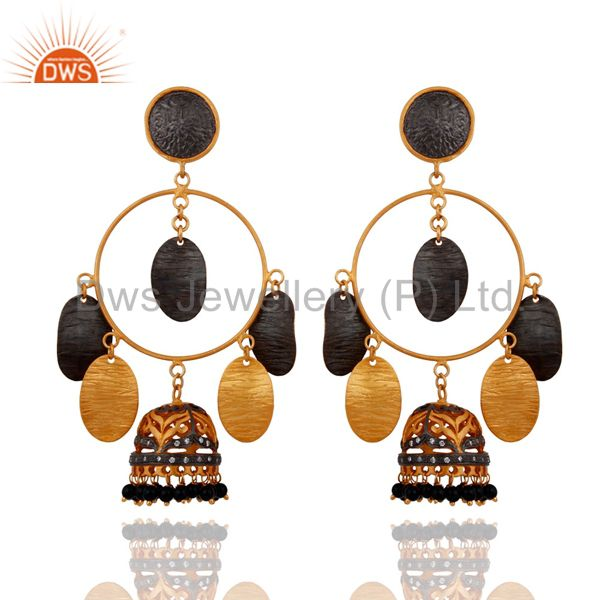 Black Onyx Gemstone Beads Wedding Bridal Earrings 14K Yellow Gold Plated Jewelry
