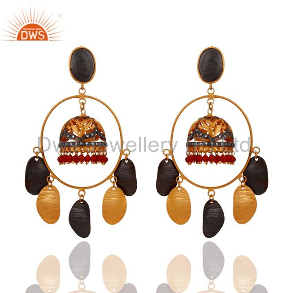 22k Yellow Gold Plated Red Onyx Semi Precious Stone Beads Wedding Gifts Earring