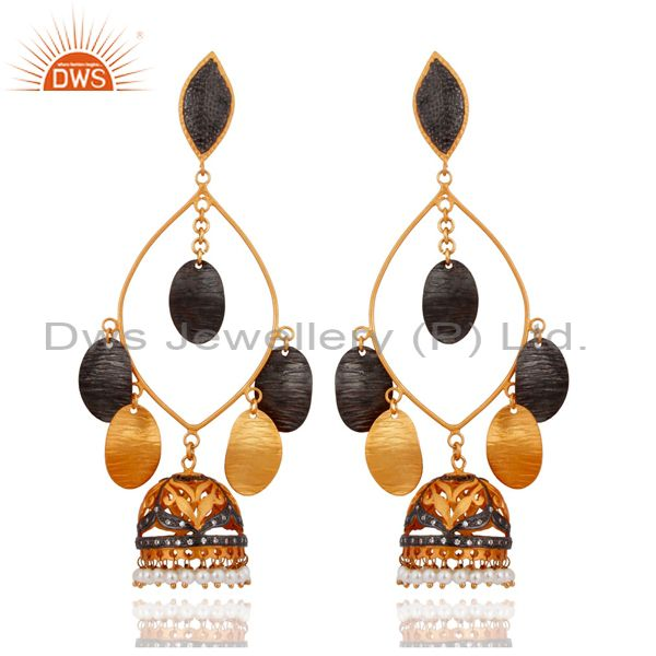 18K Yellow Gold Plated Natural Pearl Ethnic Fashion Hammered Designer Earrings