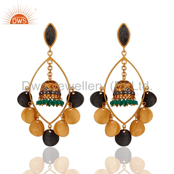 Handmade Green Onyx Gemstone 14k Gold Plated Tribal chandelier Earrings