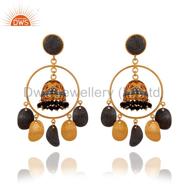 Indian Crafted 22k Gold Plated Black Onyx Tribal Banjara Belly Dance Earrings