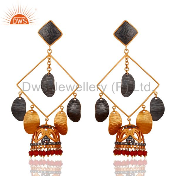 Designer Gold Plated Red Onyx Belly Dance Womens Dangle Earring