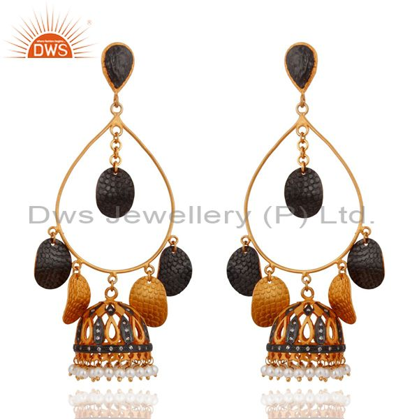New 18K Yellow Gold Plated Pearl Beads Tribal Designer Fashion Earrings Jewelry