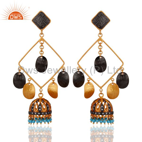 Latest Designer Natural Pearl Beads 18K Yellow Gold Plated Women Fashion Earring