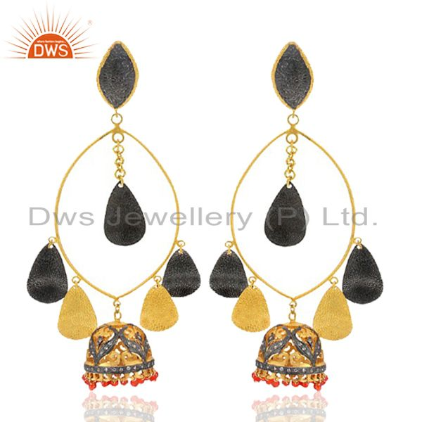18K Yellow Gold Plated Brass Red Onyx Beads And CZ Indian Fashion Jhumka Earring