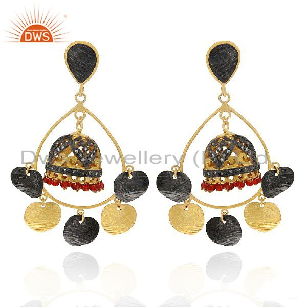 18K Yellow Gold Plated Brass Red Onyx And CZ indian Fashion Jhumka Earrings
