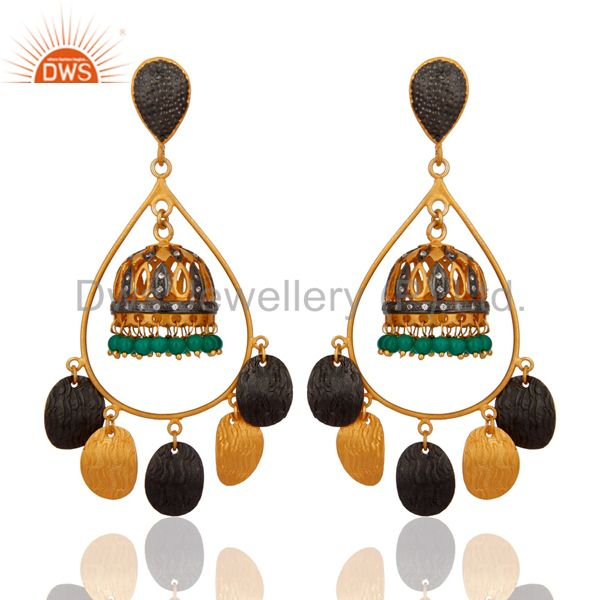 Green Onyx Gemstone Jhumka Chandelier Earrings in 18K Gold over Brass Jewelry