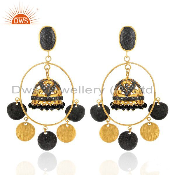 18K Yellow Gold Plated Brass Black Onyx And CZ indian Fashion Jhumka Earrings