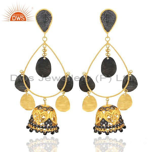 22K Yellow Gold Plated Brass Black Onyx And CZ Womens Ethnic Fashion Earrings