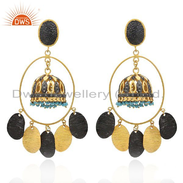 22K Yellow Gold Plated Brass Turquoise And CZ Womens Ethnic Fashion Earrings