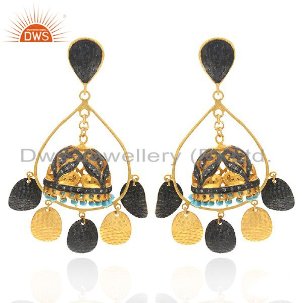 22K Gold Plated Brass Brushed Finish Turquoise And CZ Jhumka Fashion Earrings