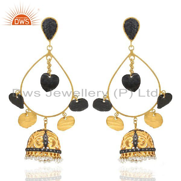 Pearl And Cubic Zirconia Womens Jhumka Earrings Made In 22K Gold Over Brass