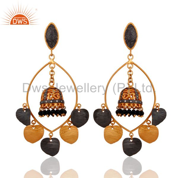 Handmade 18k Gold-Plated Black Onyx & Cubic Zirconia Indian Traditional Earrings