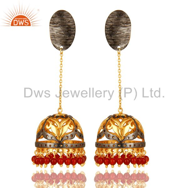 14K Yellow Gold Plated Sterling Silver Red Onyx Beads Jhumka Fashion Earrings
