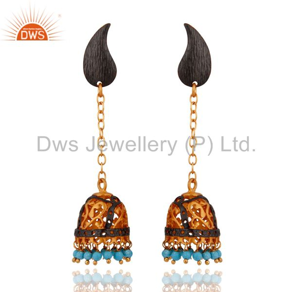 Indian Traditional 18-Karat Yellow Gold Plated Turquoise Gemstone Dangle Earring