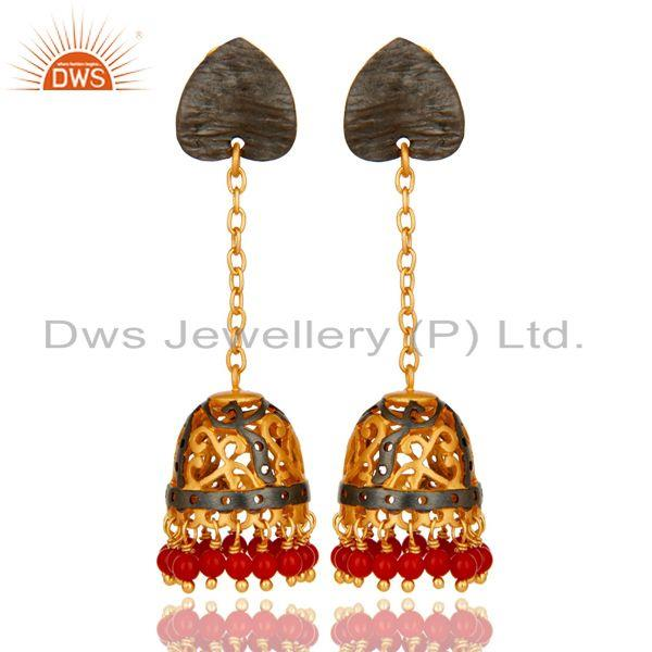 22K Yellow Gold Plated Brass Red Coral Designer Indian Ethnic Jhumka Earrings