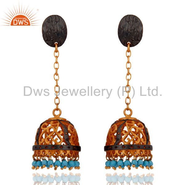 Turquoiuse Gemstone 18-Karat Yellow Gold Plated Bollywood Women Fashion Earrings