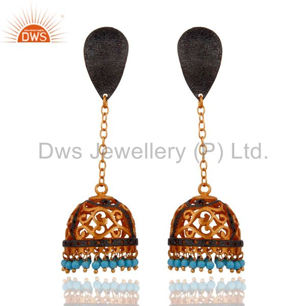 Designer Indian Ethnic Gemstone Turquoise 22k Gold Plated Dangle Earrings