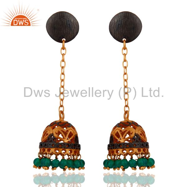 Indian 22-Karat Yellow Gold Plated Emerald Green Onyx Extra Long Dangle Earrings