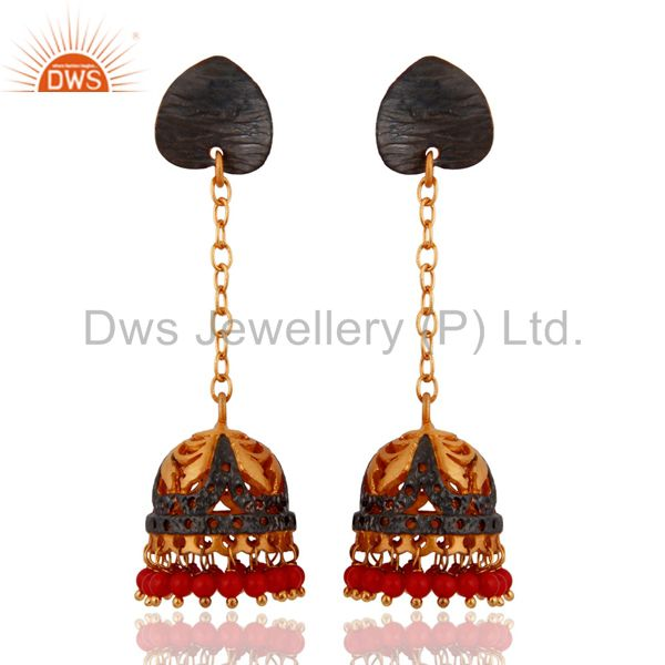 Indian Traditional Red Coral Immitation Fashion Gold Plated Jhumka Earrings