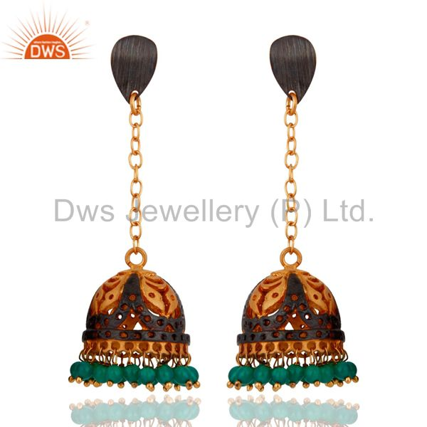 Stunning 22K Yellow Gold Plated Jhumki Earring Embellished With Green Onyx Beads