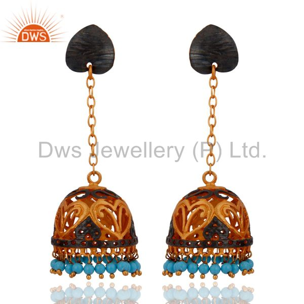 Natural Turquoise Gemstone Dangle Earrings With 22k Gold Plated Indian Jewelry